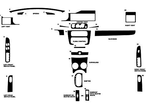 Rdash Dash Kit Decal Trim for Chrysler Sebring 2001-2006 (Convertible) - Wood Grain (Walnut)
