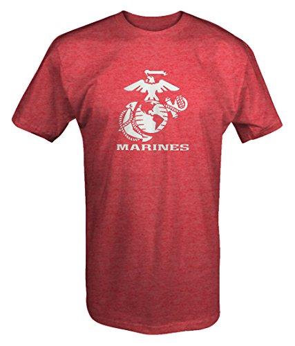 US Marines Eagle Globe Anchor Crest USMC Semper Fi Sweatshirt T Shirt -Medium Heather Red