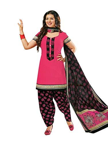Ladyline Readymade Printed Cotton Patiala Salwar Kameez Indian Dress(Size_42/Pink) ()