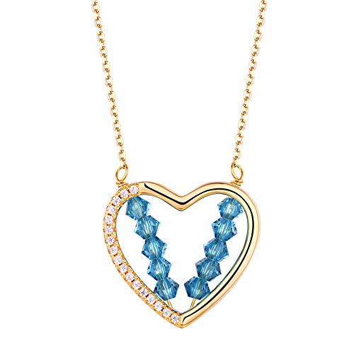 Newshe Pendant Necklace for Women Gold Heart Blue Crystal 925 Sterling Silver Cubic Zirconia Chain