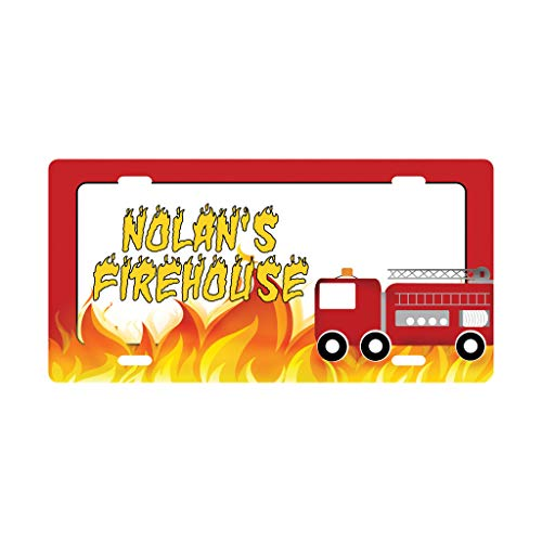 Personalized Boys Room Sign, Firetruck Decor, Fire Truck Sign, Boy Decor, Customized Sign, Kid's Name sign, Kids Door Sign, License Plate Sign