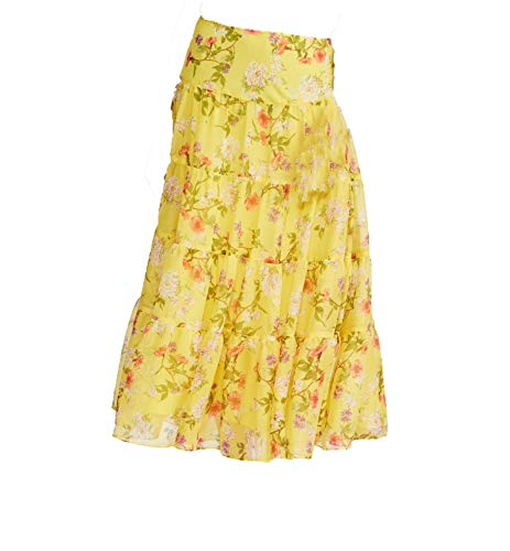 LAUREN RALPH LAUREN Womens Moriah Floral Print Long Maxi Skirt Yellow XL