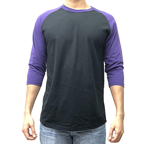 KANGORA Men's Plain Raglan Baseball Tee T-Shirt Unisex 3/4 Sleeve Casual Athletic Performance Jersey Shirt (24+ Colors) (Black Purple, Large)