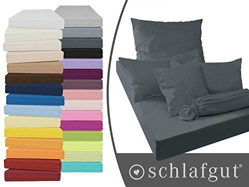 Serie basic von schlafgut aus 100% Baumwolle in 30 Uni-Farben +++ Mako-Jersey-Spannbetttuch +++ Mako-Jersey-Kissenbezug erhältlich in 3 Größen, anthrazit, Kissenbezug 40 x 80 cm