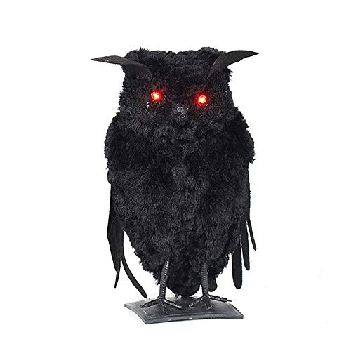 Develoo Halloween Artificial Animal Props, Black Feathered Scary Crow Owl CatArtificial Bird Prop with Luminous Eyes Art and Crafts for Halloween Party Indoor Outdoor Decoration -