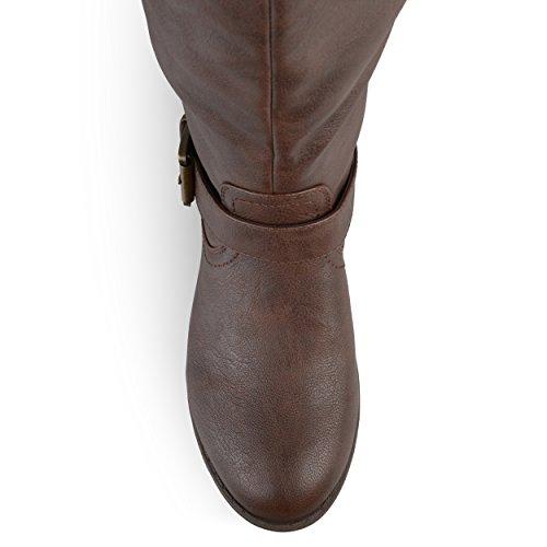 Journee Collection Dames Bezaaid Over-the-knee Laarsjes In De Binnenzak Bruin