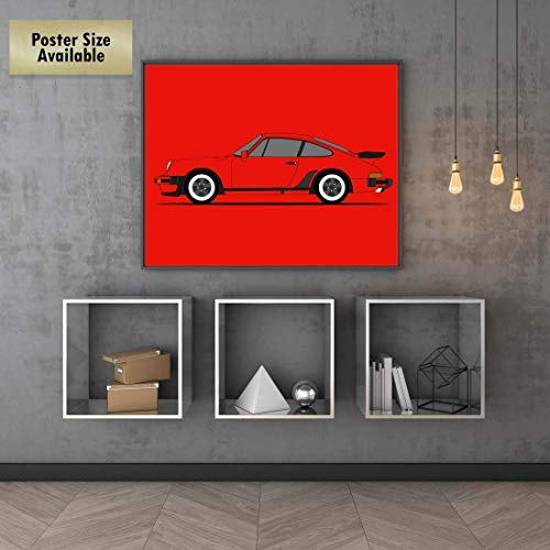 CUSTOMIZABLE COLOR: Poster Inspired by Porsche 930 (Porsche 911 Turbo) Side Profile View Poster Print Wall Art Decor Handmade