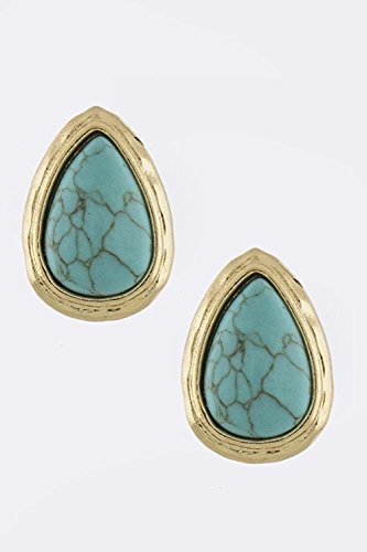 BAUBLES & CO CLASSIC OVOID BEZEL SET EARRINGS (Diamond Shaped Turquoise Post Earrings)