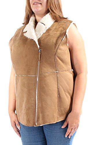 (Wildflower Women's Faux-Shearling Moto Vest (X-Large,)