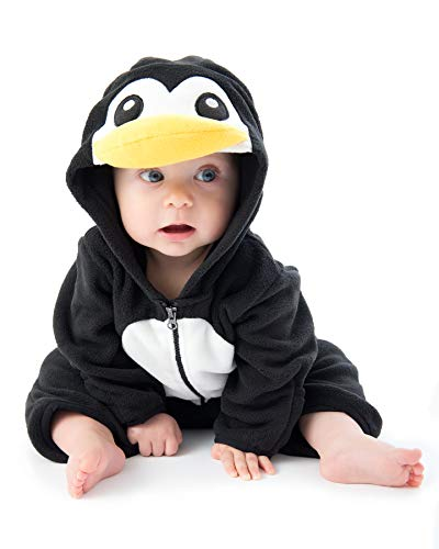 Funzies Baby Bunting Fleece Hooded Romper Bodysuit (PenguinBlack/White18-24m) ()