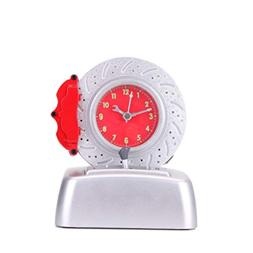 CYXStar Disc Alarm Clock Kids Alarm Clock Battery Operated Cool Car Lover Rotating Tire Bell with Engine Ringer For Bedrooms and Office Desk (DL38(Red)) ()