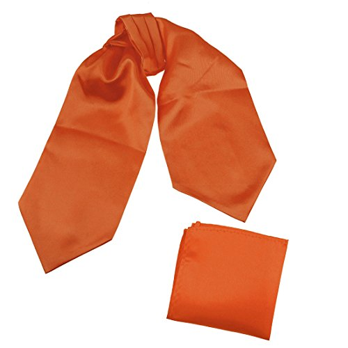 DRC1E01R Orange Red Solid Soft Stain Boyfriends Gift Ascot and Matching Handkerchief By Dan - Orange For Men