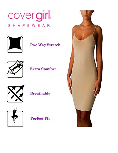 Cover Girl Seamless Full Slip for Women Fitted Stretch Whole Undergarment Slips (Nude, Large) CG1400