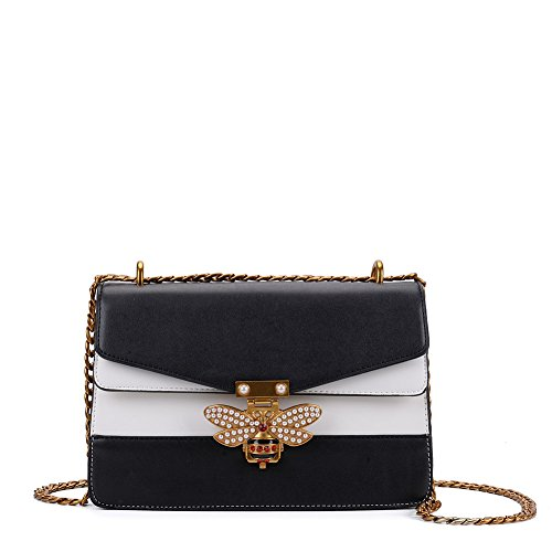 Bag black Lock Patchwork Lock amp;white Crossbody Chain Bee Patchwork Crossbody Bee Chain 6qTxST