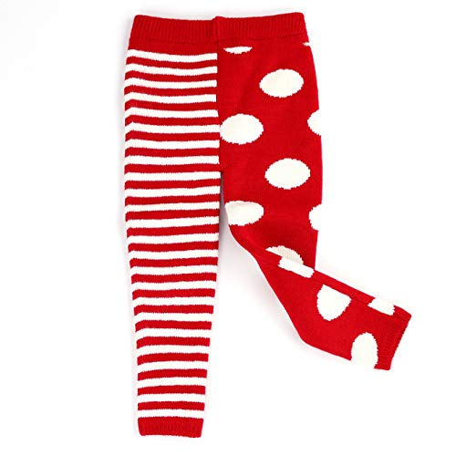 Maria Elena - Toddler Winter Thick Thermal Leggings Mix Match Polka Dot & Stripe Kelly & Katie|RED White 4T