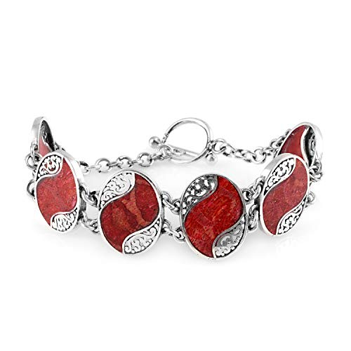 Bracelet 925 Sterling Silver Sponge Coral Gift Jewelry for Women Size - Natural White Sponge Coral
