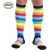 Compression Socks for Women & Men (20-30mmHg) 2 Pairs Best Graduated Medical Socks for Shin Splints, Nurses, Running, Maternity Pregnancy & Flight Travel Rainbow-M