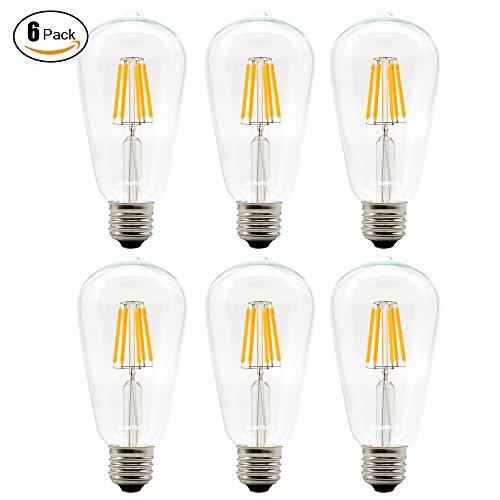 SUNMEG 6W ST64 Dimmable LED Filament Bulb, ST21 Edison Style Vintage Light Bulb, E26 Base, Warm White (2700K),