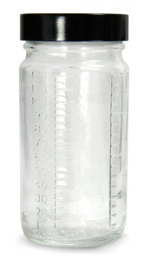 Qorpak GLC-01547 Clear Glass Graduated Medium Round Bottle with 58-400 Black Phenolic Solid PE Lined Cap, 62mm OD x 127mm Height, 8oz Capacity (Case of - Cap Pe Lined