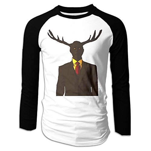 MEGGE Hannibal Antlers 2 Men T Shirt Tops Black M (Deer Toilet Tattoo)