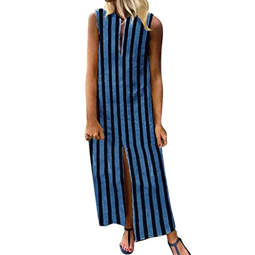 Scented Candle Triangle - 【MOHOLL】 Women's Summer Sleeveless Striped Flowy Casual Long Maxi Dress Casual America Long Dress Blue