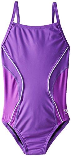 Speedo Big Girls' PowerFLEX Eco Revolve Splice Energy Back One Piece Swimsuit, Purple, 8/24