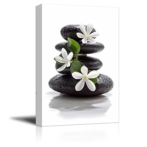 Zen Basalt Stones with Calming Magnolia Flowers Wall Decor ation