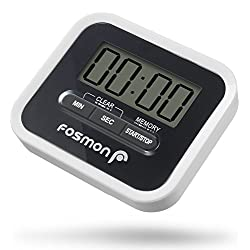Digital Timer, Fosmon Large Digital LCD Screen Kitchen Timer Count Up/Down with Loud Alarm, Magnetic Back, Folding Stand & Clip - White/Black
