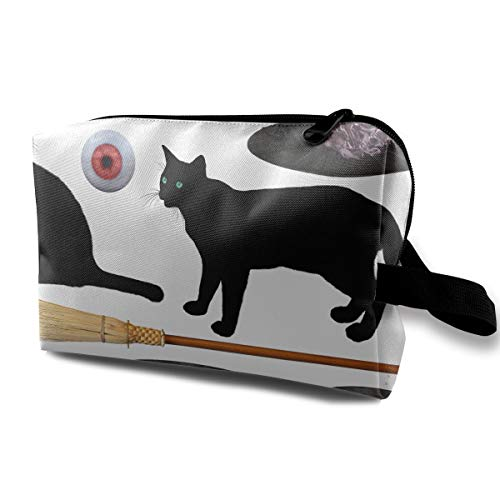 Halloween Witch Hat Broom Black Cat Poison Scary Multi-function Travel Makeup Toiletry Coin Bag Case ()
