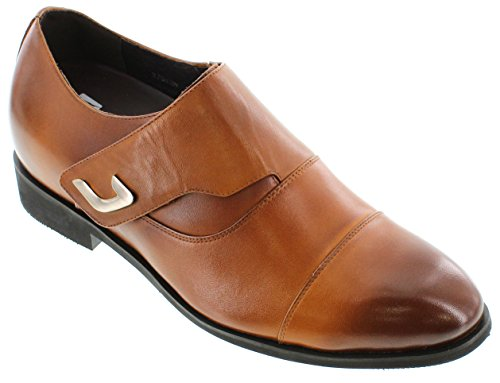Toto X70109-3 inches Taller - height Increasing Elevator Shoes (Brown Leather Slip-On Cap-Toe)