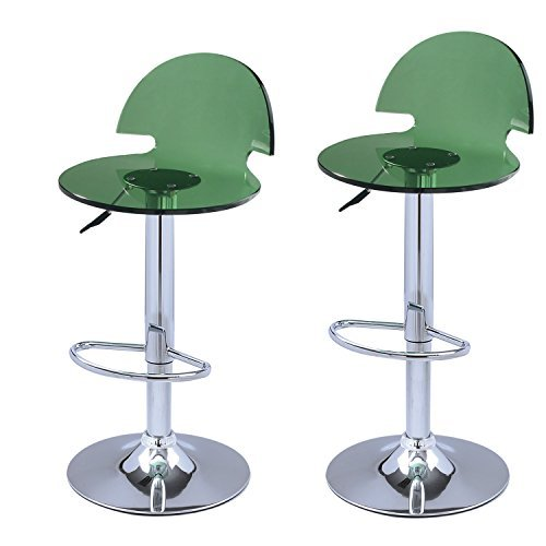 Adeco Green Acrylic Hydraulic Lift Adjustable Barstool Chair Chrome Finish Pedestal Base (Set of Two)