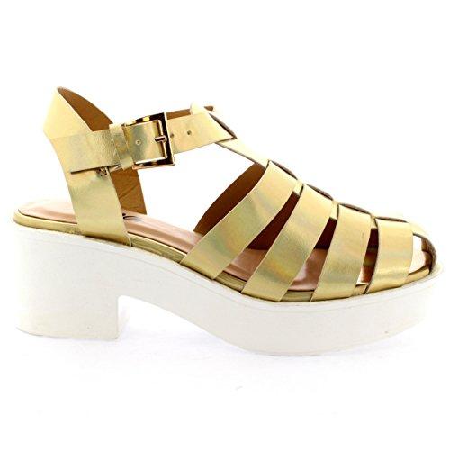 Oro Zapatos Gladiador Sandalia Plataforma De Tacón Mediados Holograma Talón Mujer Grueso Viva xcUXwSAqPW