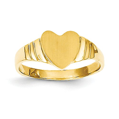 Baby and Children 14K Yellow Gold Signet Heart Ring by Qgold