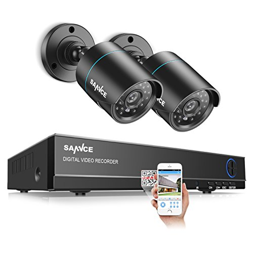 SANNCE Upgraded 8CH 1080N DVR Security System with (2) 720P 1500TVL HDTVI CCTV Bullet Camera for Outdoor/Indoor, IP66 Weatherproof, Email Alarm, Phone Remote Access, NO Hard Drive by SANNCE