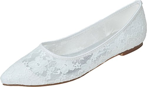 Comfort Up amp; Shut Dress Slip Ventilated Flats Pumps Toe 2046 Ladies Point Wedding White Dance Shoes Party 14 On AdYqS