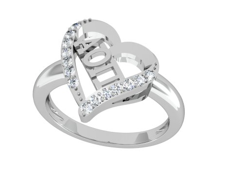 Alpha Omicron Pi Heart Silver Ring