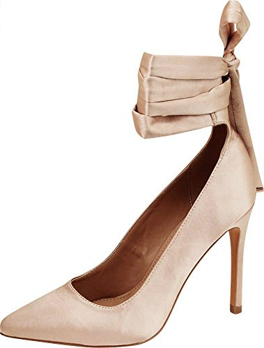 Cambridge Select Women's Closed Pointed Toe Ballerina Wraparound Ankle Tie Bow Stiletto High Heel Pump,8 B(M) US,Nude Satin ()
