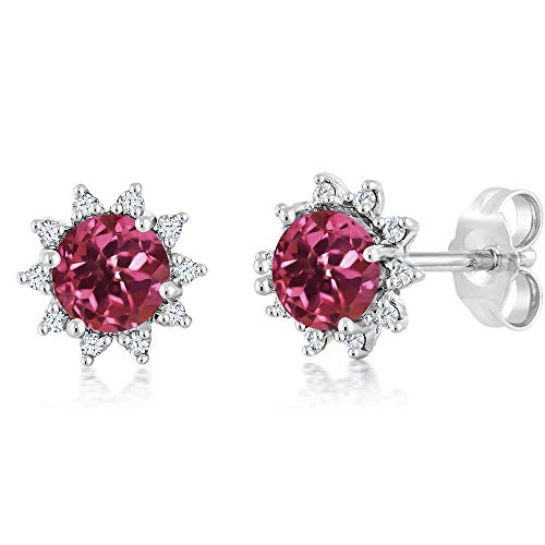 - Gem Stone King 18K White Gold Diamond Stud Earrings Round 4mm Pink Tourmaline 0.48 Ct