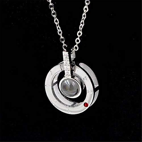 Inf-way I Love You Necklace, 100 Languages Projection on Round Onyx Pendant Loving Memory Collarbone Necklace 1 Pcs (925 Sterling Silver) by Inf-way (Image #2)
