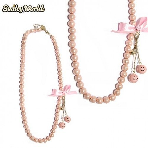 COLLIER FANTAISIE SMILEY WORLD PERLES ROSES-----CO.353