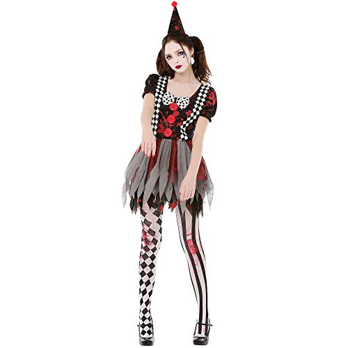 Boo Inc. Crazy Clown Womens Halloween Costume | Circus Harlequin Outfit, Adult Cosplay L]()