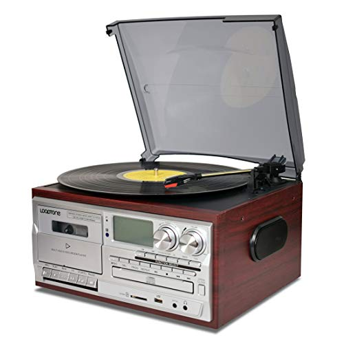 LoopTone Vinyl Record Player 9 in 1 3 Speed Bluetooth Vintage Turntable CD Cassette Player AM/FM Radio USB Recorder Aux-in RCA Line-Out