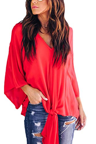 2cd0dba067 FAFOFA Casual T Shirt for Women V Neck Bat Sleeve Tie Knot Straps Front  Loose Blouse
