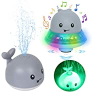 Leipal Baby Light Up Bath Tub Toys Whale Water Sprinkler Pool Toys 2 in 1 Space UFO Car with Musical Fountain