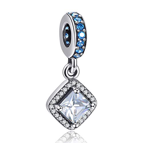 Angemiel 925 Sterling Silver Dangle Bead Charms Pendant for Snake Chain Bracelets Necklace, Lucky Charms Inlaid with 5A Cubic Zirconias ()