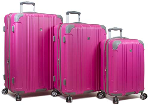 Dejuno 25DJ-668-PINK Kingsley Hardside Spinner Luggage Set with TSA Lock44; Pink – 3 Piece