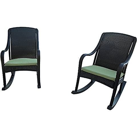 Hanover Outdoor Furniture Orleans 4 Piece Rocking Chairs and Cushion Set - Orleans Patio Furniture