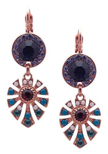 Mariana Peacock Swarovski Crystal Rose Goldtone Dangle Earrings Blue Teal Purple Mix 2139