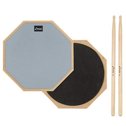 (Donner 12 Inches Drum Practice Pad 2-Sided Silent Drum Pad Set Gray With Drum Sticks)