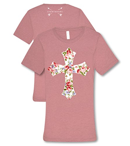 Light Heart Floral Cross Front Tee Womens Classic Fit T-Shirt - Mauve Triblend, 2X-Large